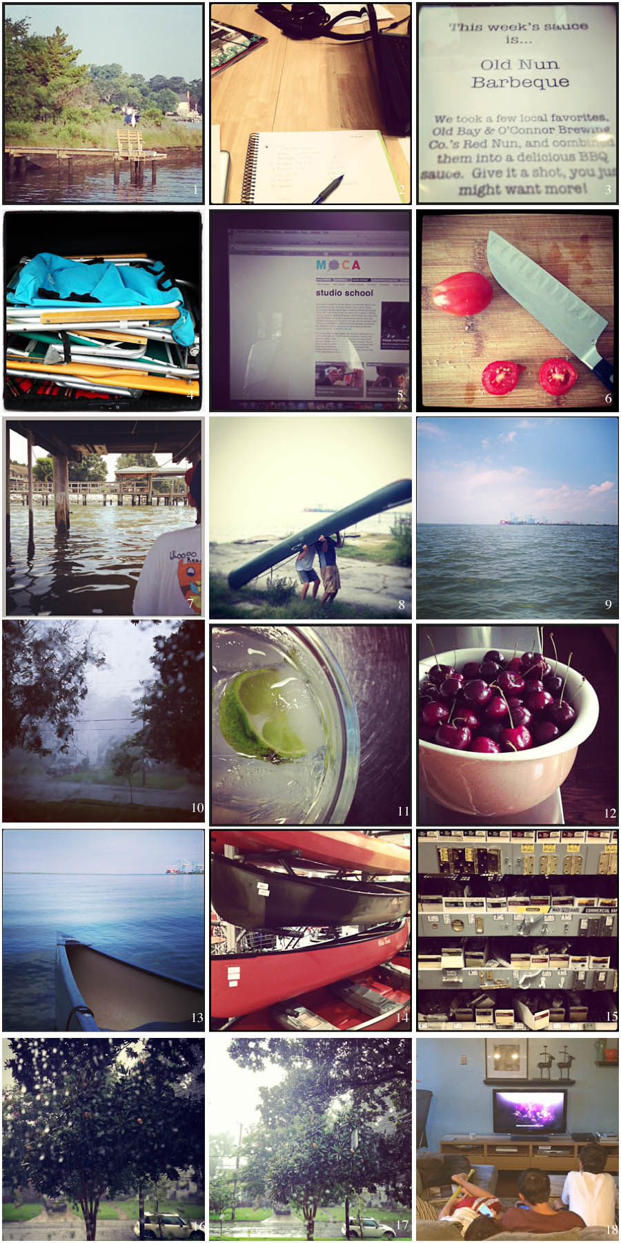 1. Morning Walk | 2. Brainstorming Session | 3. Cal's Choice for dinner | 4. Beach life | 5. Exciting autumn ahead | 6. Harvest | 7. Slow-paddle Sunday | 8. Portgage lessons | 9. My river | 10. Big Storm | 11. Sampling BSE | 12. Sunday morning cherries | 13. Morning paddle | 15. I guess we're in the market for a canoe | 16. Hardware | 17. Summer storm | 18. Sun Storm | 19. Happy together