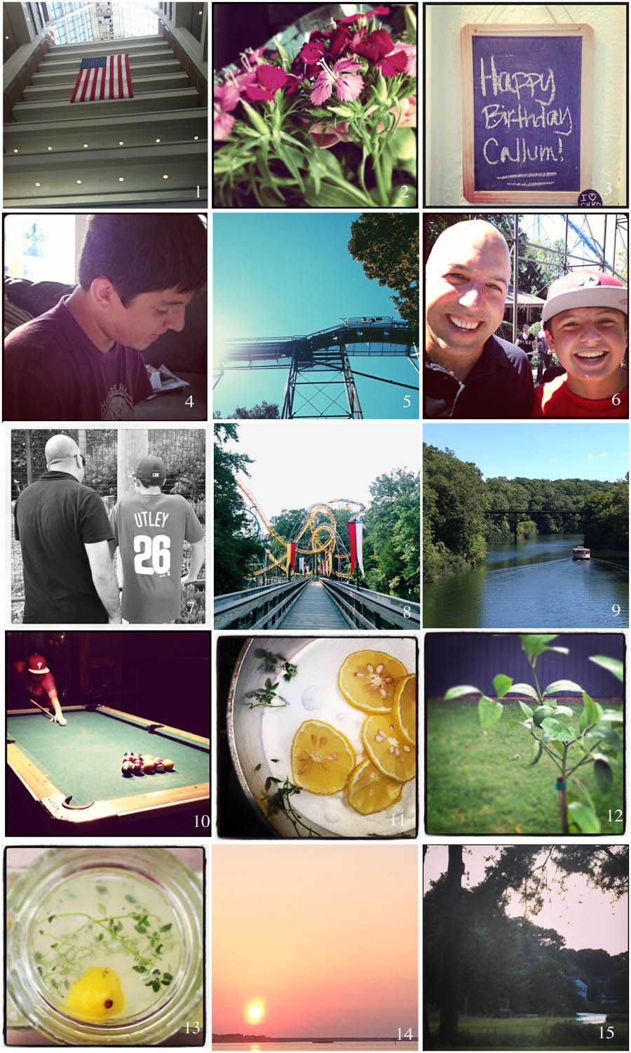 1. US Patent Office   2. Birthday Flowers   3. The Big Day   4. Opening Presents   5. Coaster Heaven   6. My guys   7. Almost as tall as Papa   8. Beautiful Busch Gardens   9. My kind of ride   10. Post-park pool   11. Simple syrup   12. Lemon tree   13. Lemonade   14. River Sunset   15. Marsh at twilight