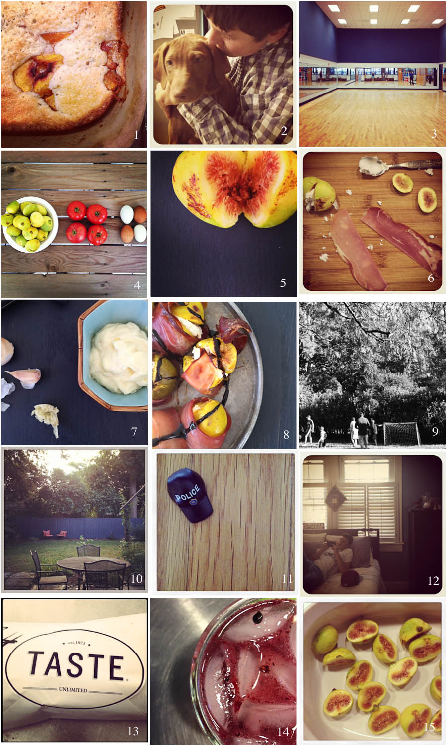 1. best meeting ever | 2. meet zoey | 3. friday night workout | 4. gorgeous gifts | 5. glorious color | 6. meal prep | 7. cheater's aioli | 8. figs | 9. backyard evening | 10. autumn morning | 11. unexpected treasure | 12. sleeping rearrangement | 13. lunch | 14. reward | 15. back with the figs