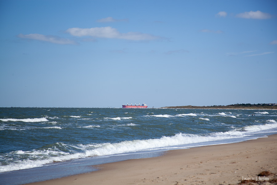 A tanker ship rounds Cape Henry and heads to Norfolk, likely to the spot I can see from where I take all the shots from our river.
