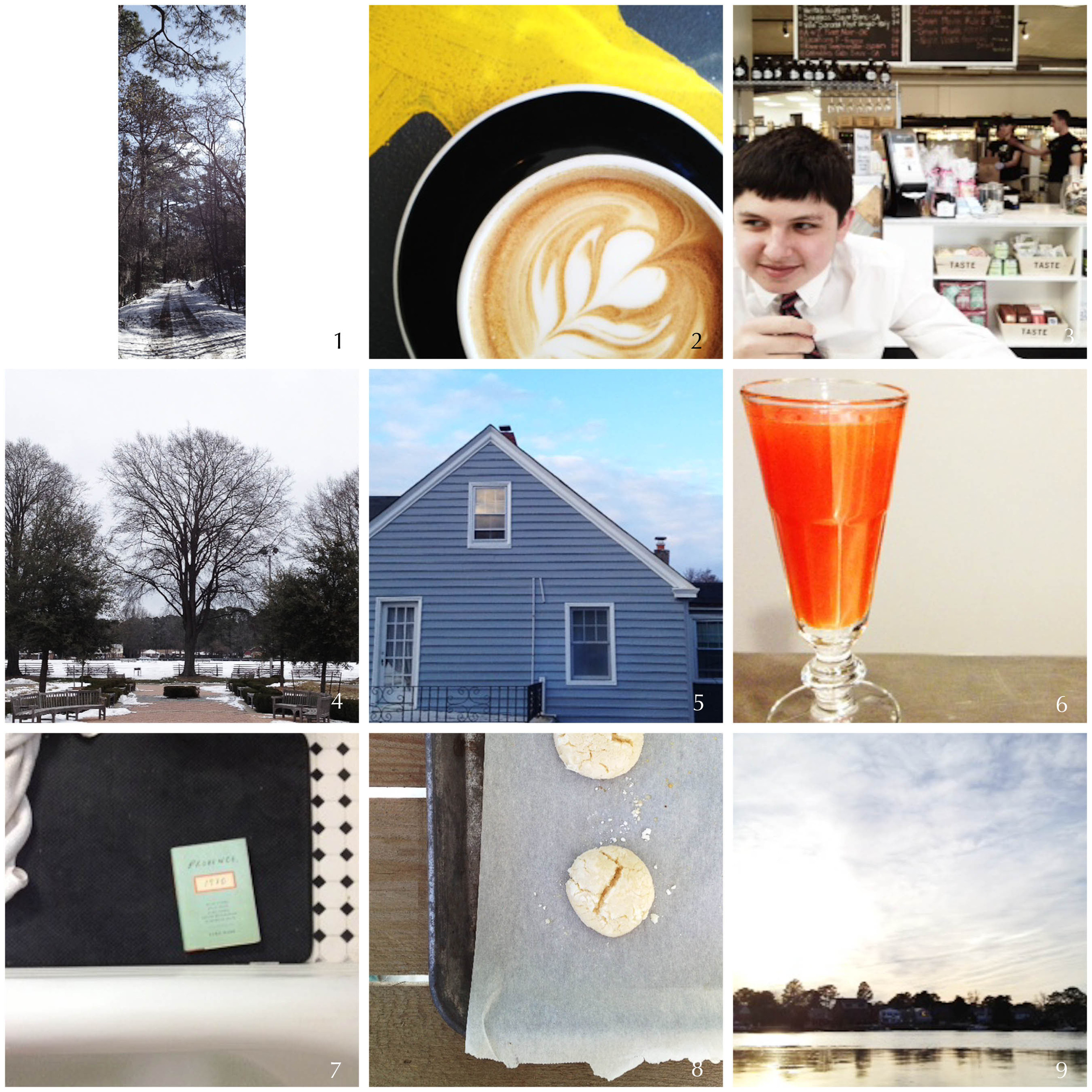 1. Friday hike | 2. coffee with a friend | 3. welcome home | 4. new routine | 5. next door | 6. liquid courage | 7. little break | 8. lemon cookies | 9. my river
