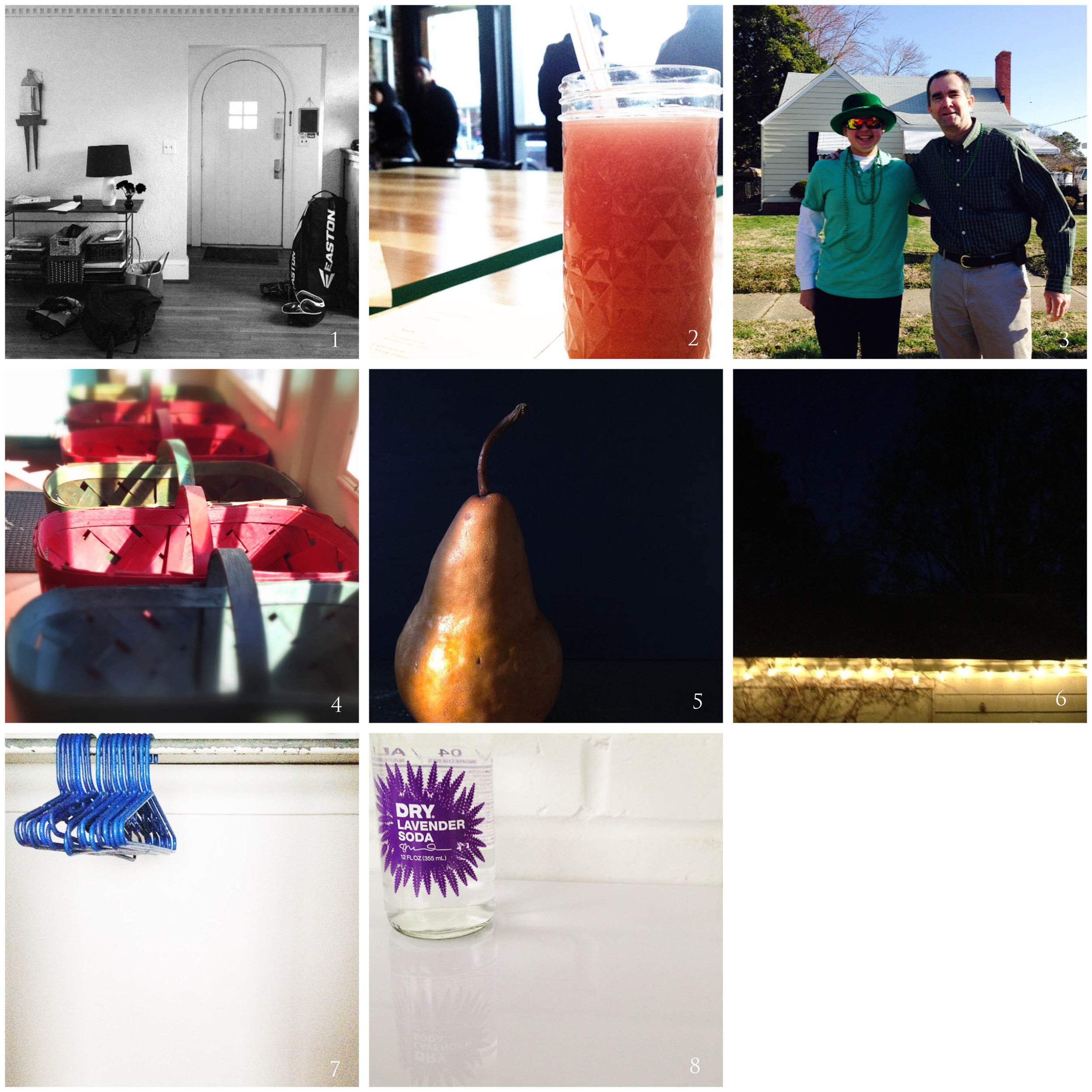 1. how my house looks now | 2. field guide | 3. ov parade | 4. westside produce | 5. late-winter light | 6. just like old times | 7. #40bagsin40days | 8. new BFF