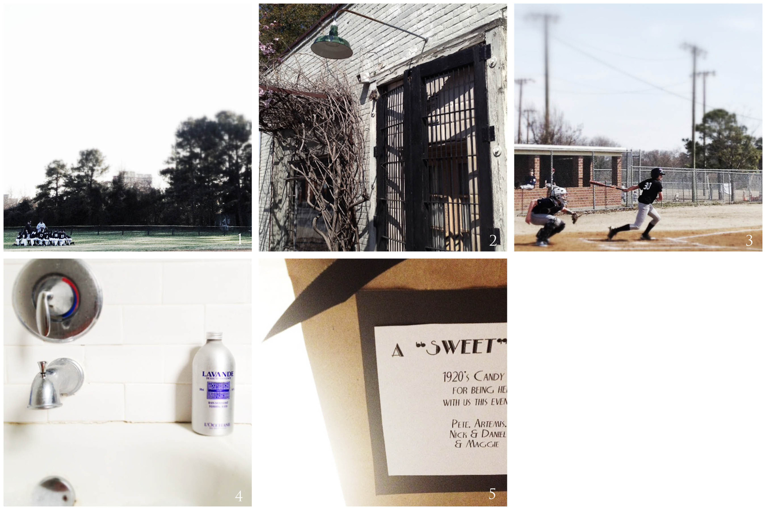 1. first game | 2. photo walk | 3. how our saturdays look now | 4. medicinal | 5. sweet ending