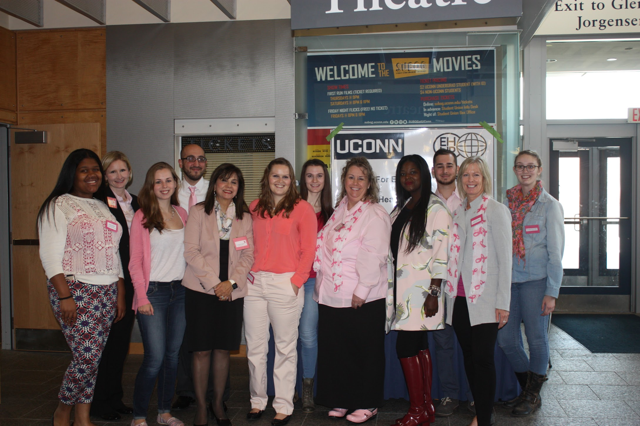 Volunteer and professors who coordinated the even wearing pink to support breast cancer awareness month. Photo Credit to Melissa Depaolo.