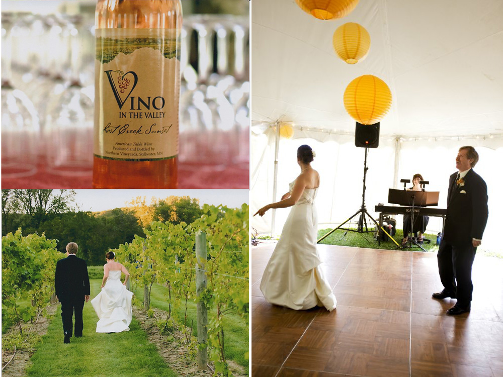 Following a vineyard wedding ceremony, Sharon Planer performed wedding reception music under the tent at Vino in the Valley.