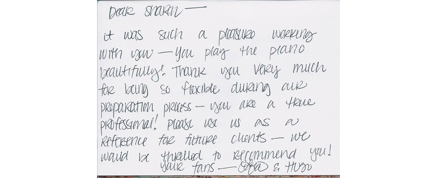 thank you note to Wedding Pianist, Sharon Planer