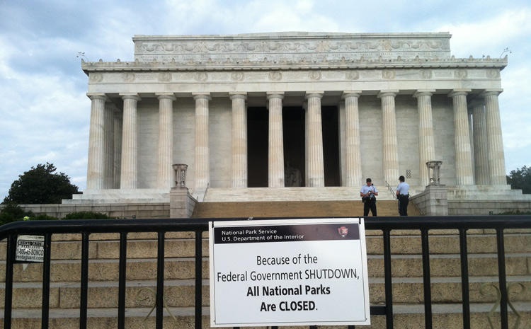 All National Parks as well as the National Mall and Memorial Parks are closed. This includes weddings.