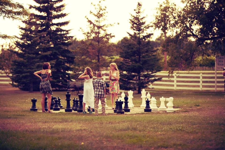 Outdoor chess at Carlos Creek Winery.