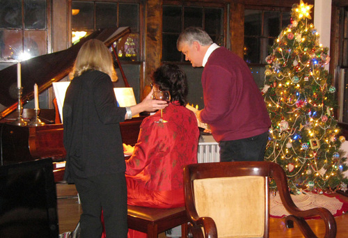 Holiday sing along at the piano.