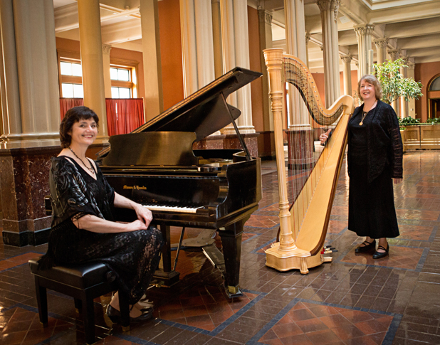 Royal Event Musicians:  Pianist Sharon Planer and Harpist Serena O'meara  photo:  http://www.grinkiegirls.com/