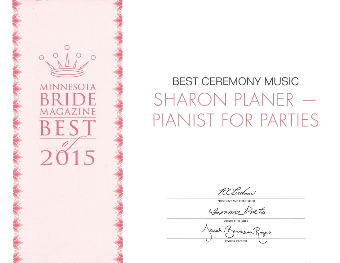 MNBride certificate Best Ceremony Music 2015 Sharon Planer
