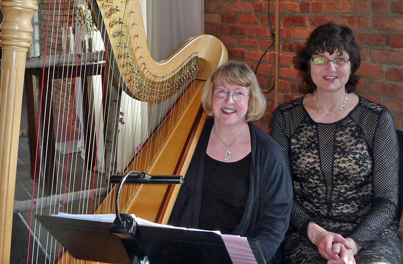 Harpist Serena O'Meara & Pianist Sharon Planer wedding musicians at the Nicollet Island Pavilion