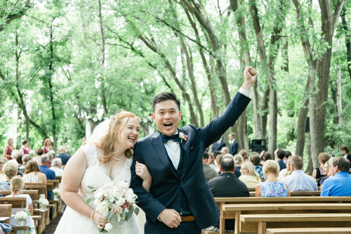 Outdoor Wedding Ceremony in the Natural Cathedral at Carlos Creek Winery  Photo Credit:  http://mschleifphotography.com/