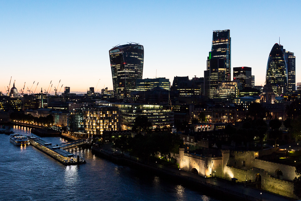 The Tower of London, the Walkie-Talkie, the Cheese-Grater and the Gherkin. Taken from the event space at the top of Tower Bridge at dusk, while waiting for speeches to finish.