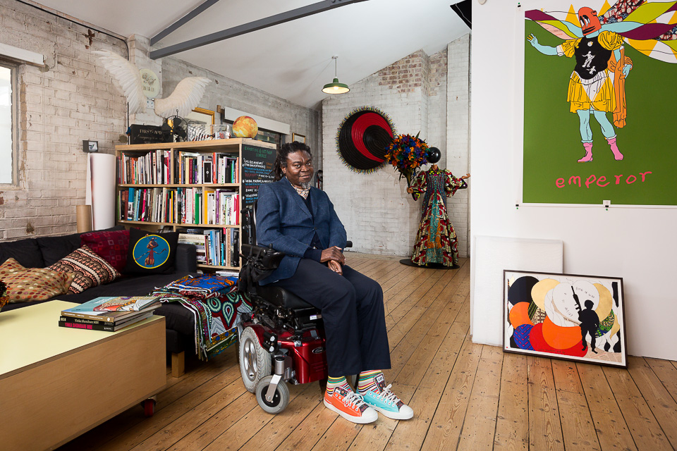 Artist Yinka Shonibare MBE, photographed at his studio in Dalston. He is perhaps best known for his 1:30 scale model,  Nelson's Ship in a Bottle,  which occupied Trafalgar Square's fourth plinth for two years in 2010.