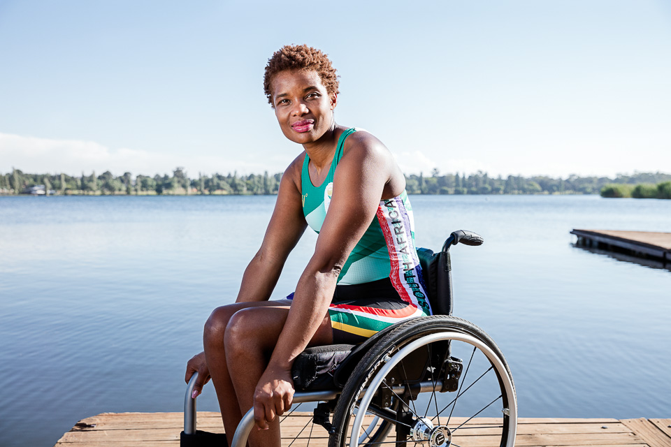 Paralympian rower Sandra Khumalo at Victoria Lake Rowing Club in Germiston, Johannesburg. Photographed by Ilan Godfrey (www.ilangodfrey.com).