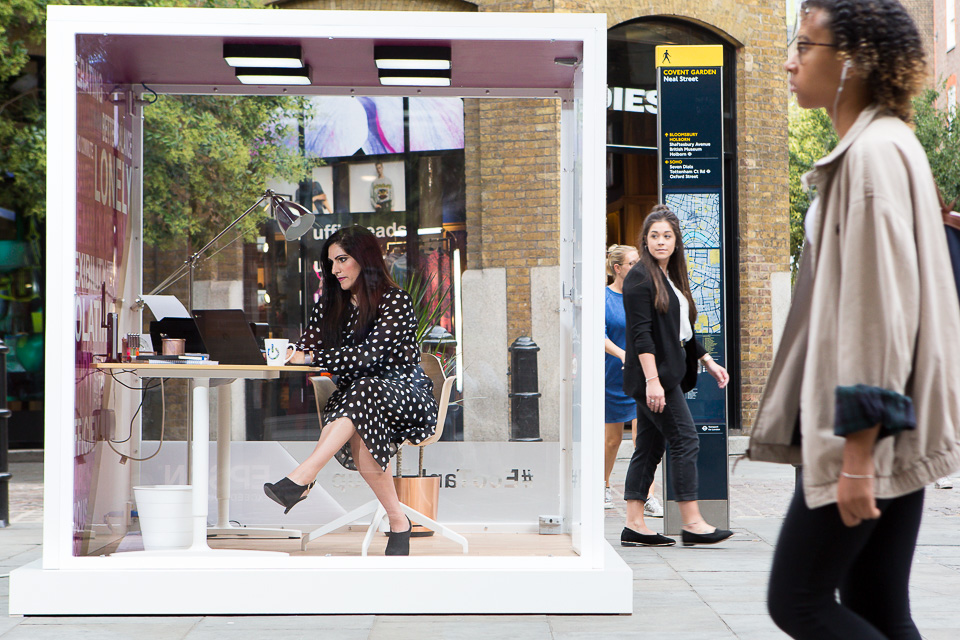 A PR stunt for Epson to illustrate the loneliness felt by many UK freelancers. Vicki Psarias (aka blogger Honest Mum) worked for a day from inside a perspex box, situated near Covent Garden.
