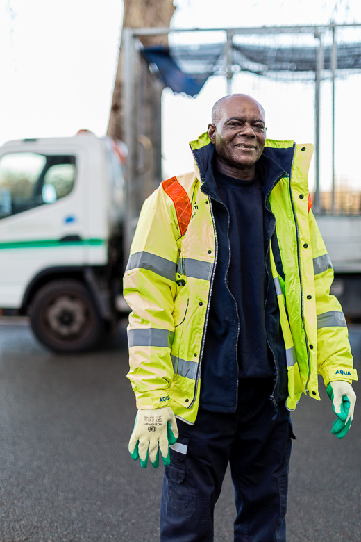 (Above and below) A series of images of street cleaners, enforcement officers, and waste collection teams for Wandsworth Council.