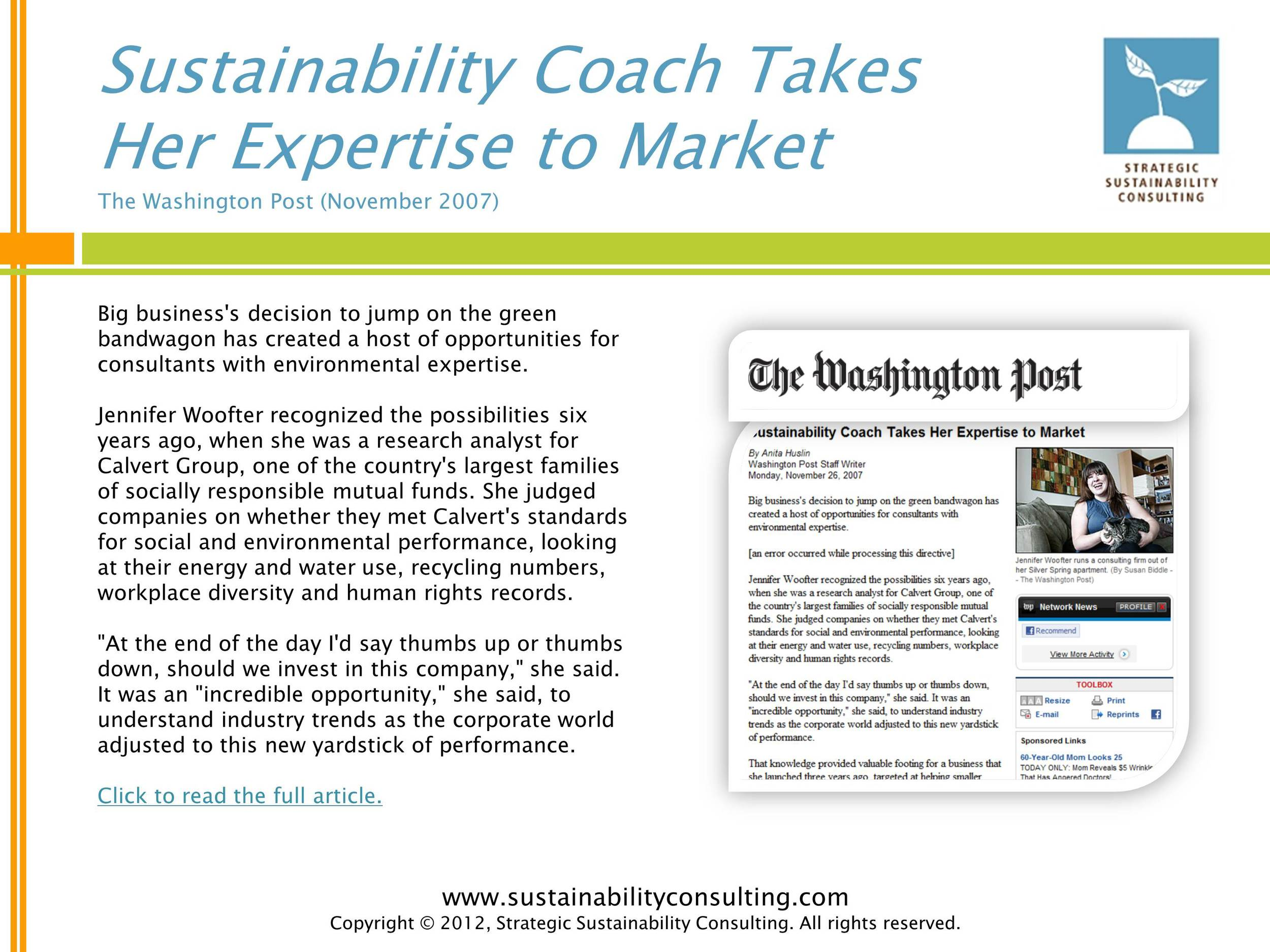 Sustainability Coach Takes Her Expertise to Market