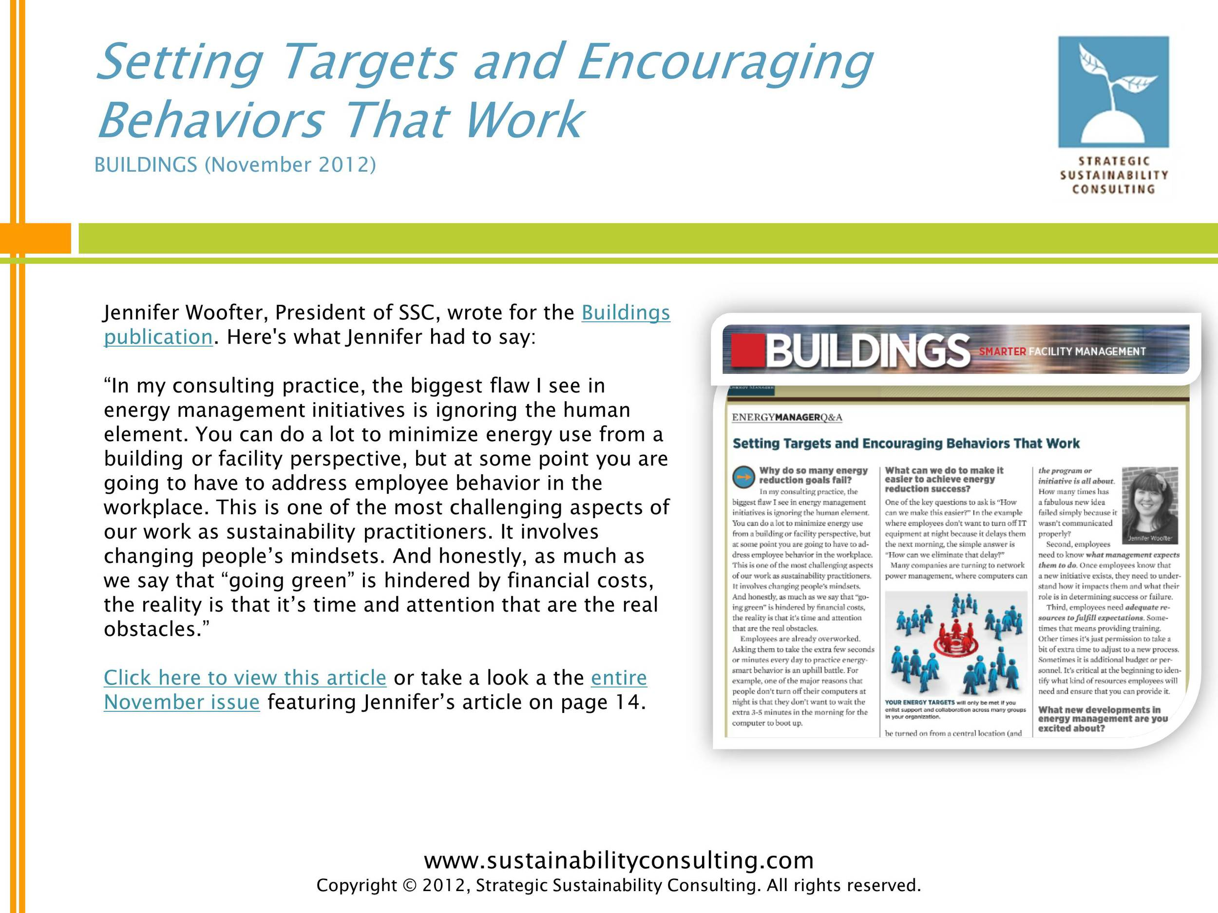 Setting Targets and Encouraging Behaviors That Work