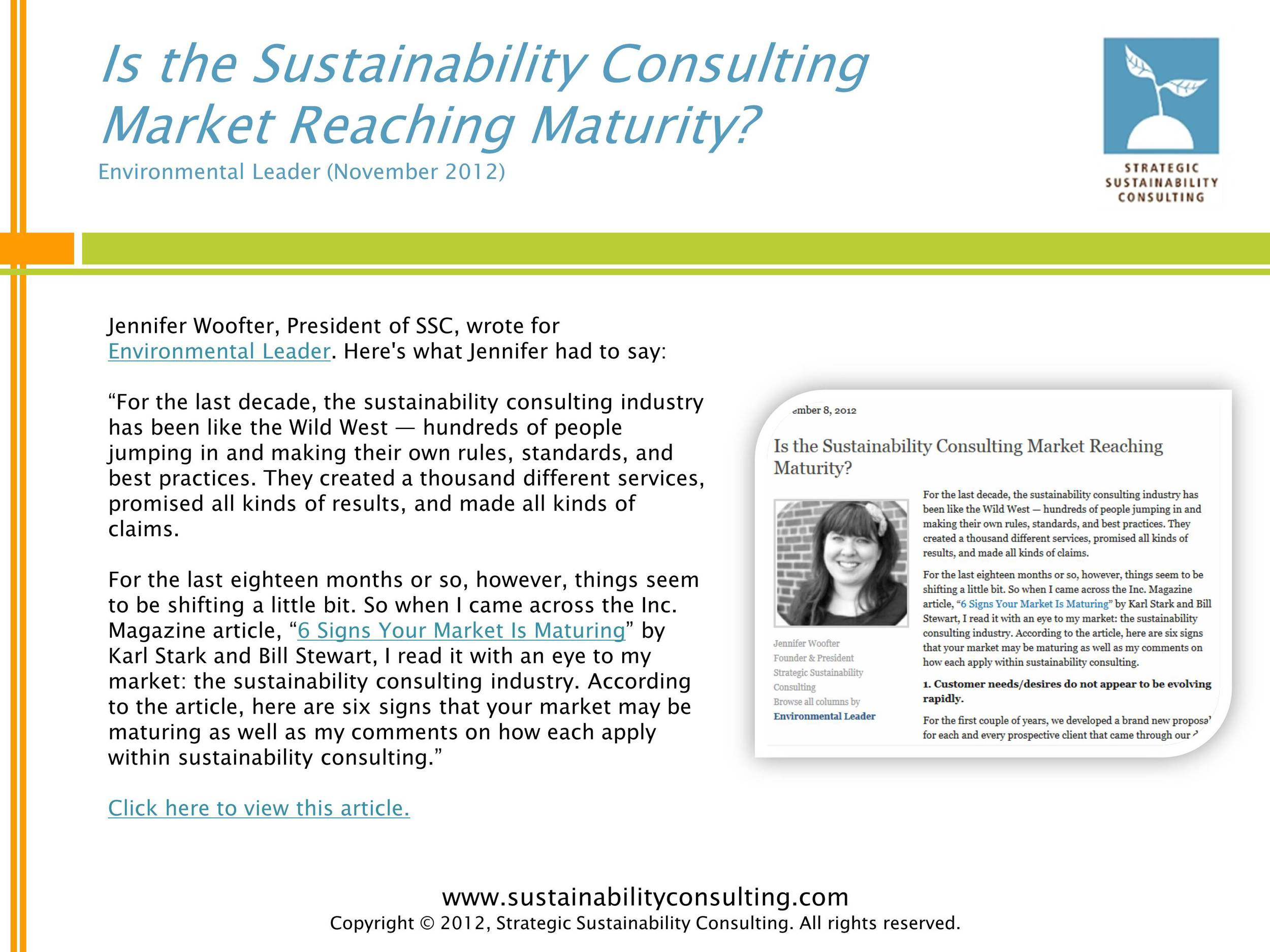 Is the Sustainability Consulting Market Reaching Maturity?