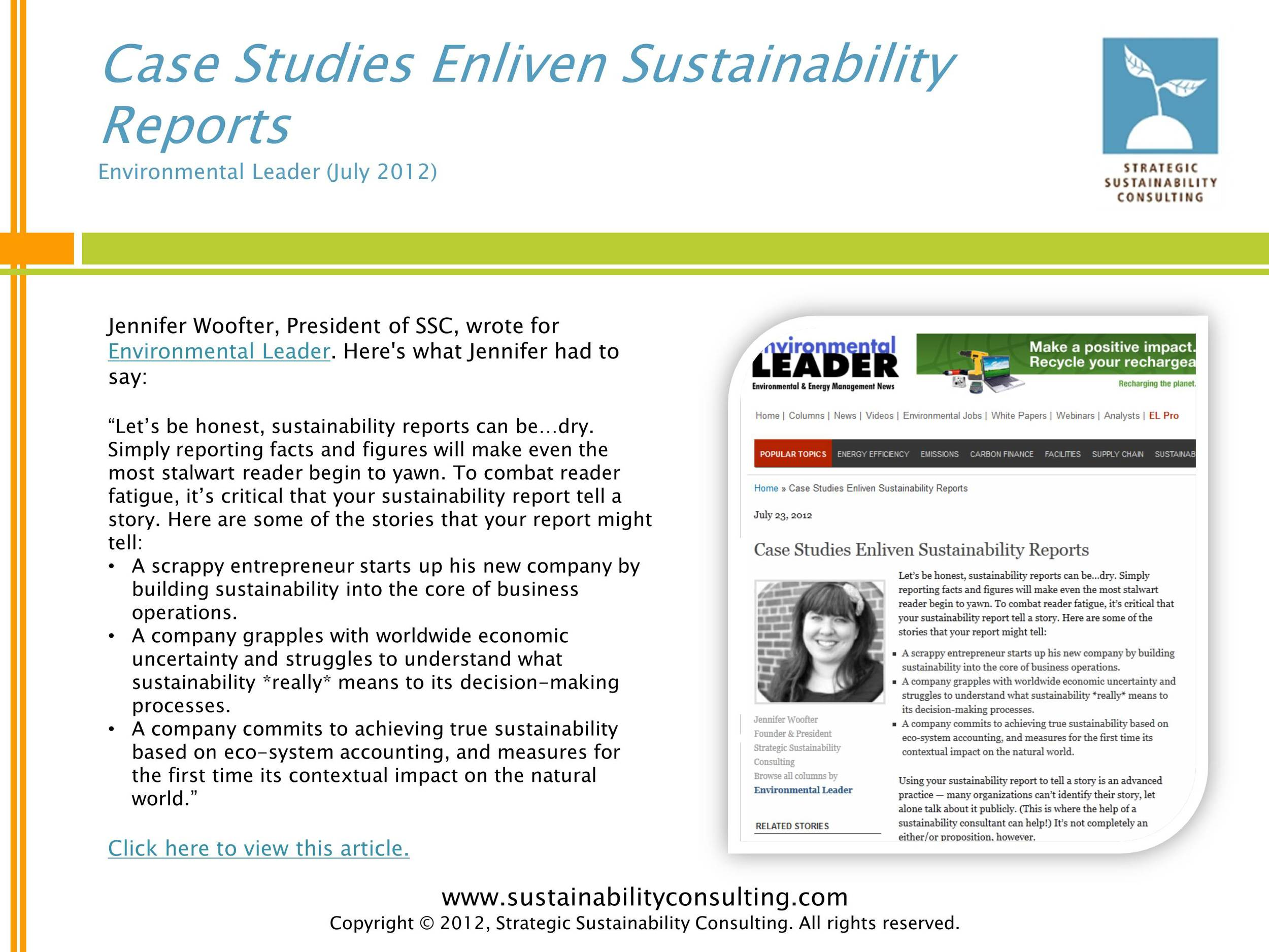 Case Studies Enliven Sustainability Reports