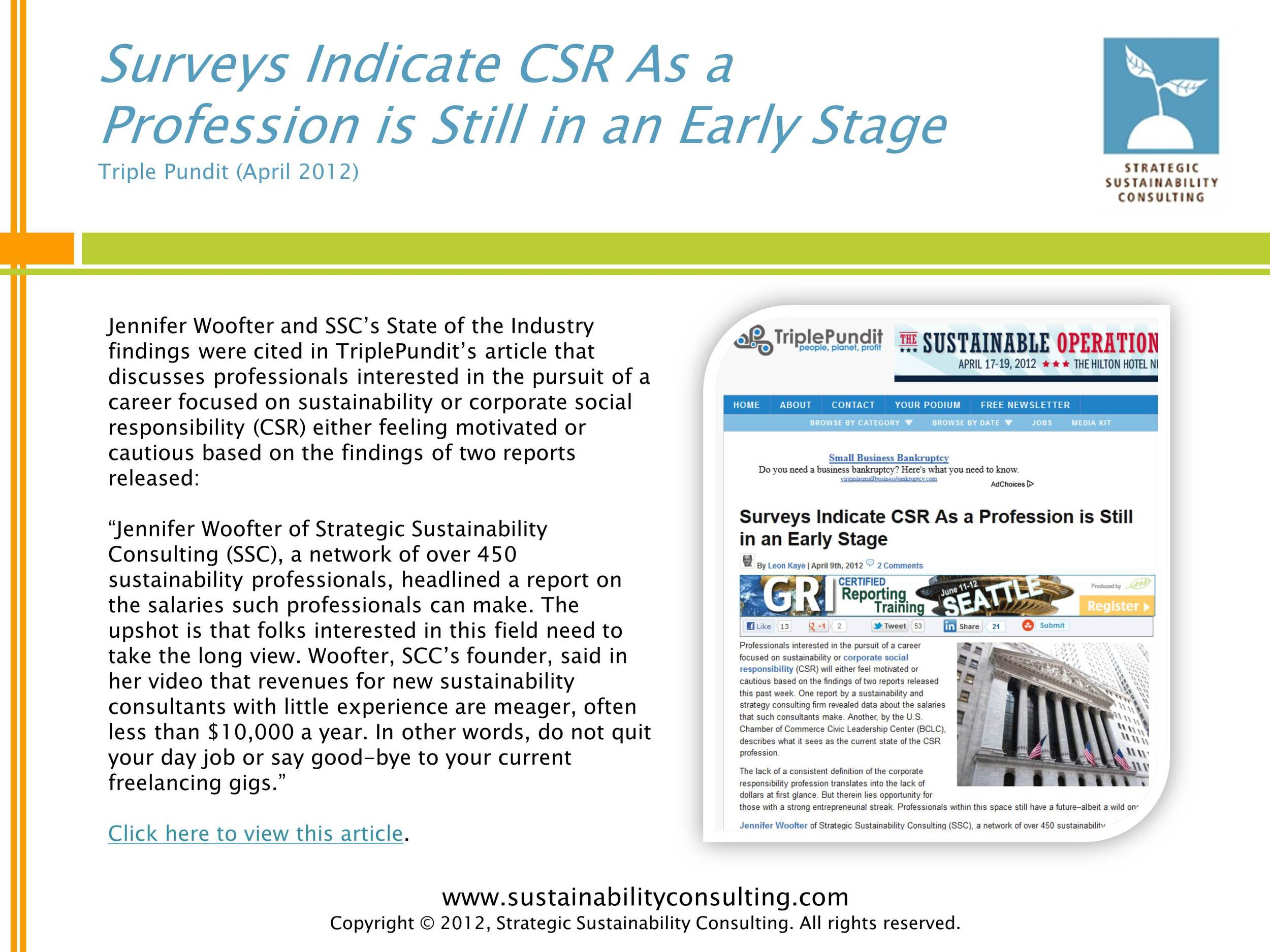 Surveys Indicate CSR As a Profession is Still in an Early Stage