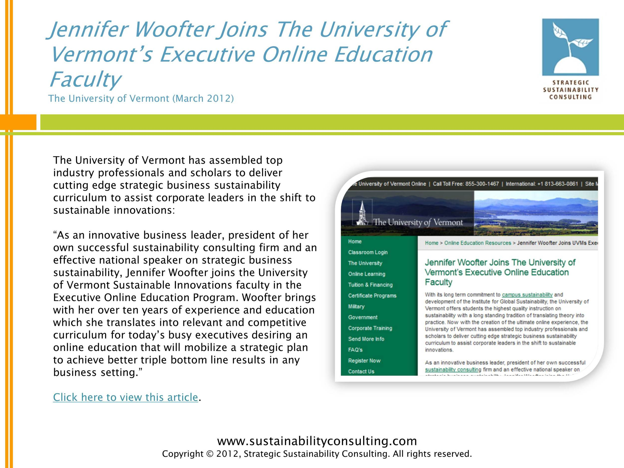 Jennifer Woofter Joins The University of Vermont's Executive Online Education Faculty