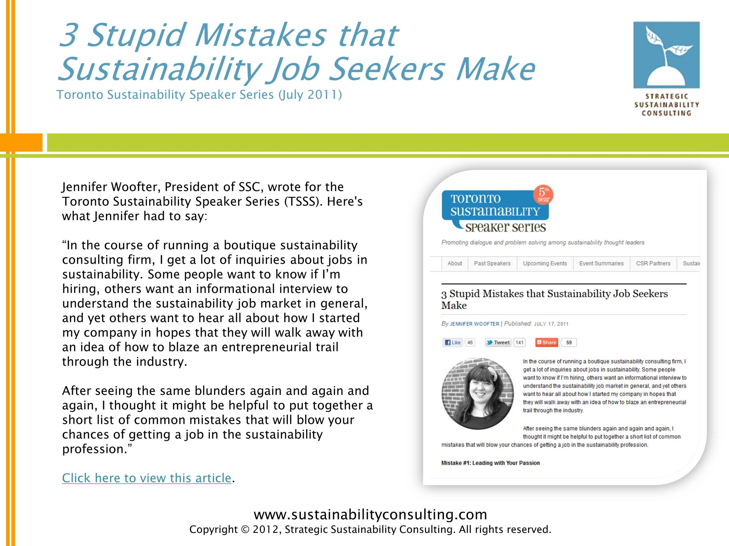 3 Stupid Mistakes that Sustainability Job Seekers Make