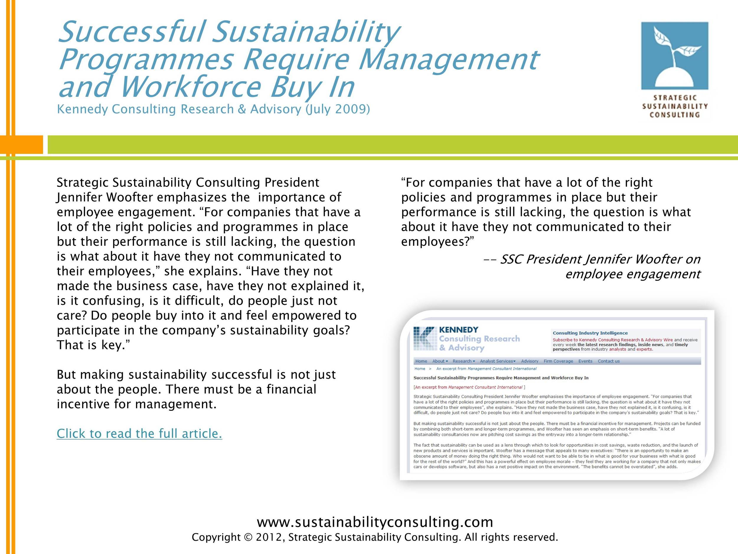 Successful Sustainability Programmes Require Management and Workforce to Buy In