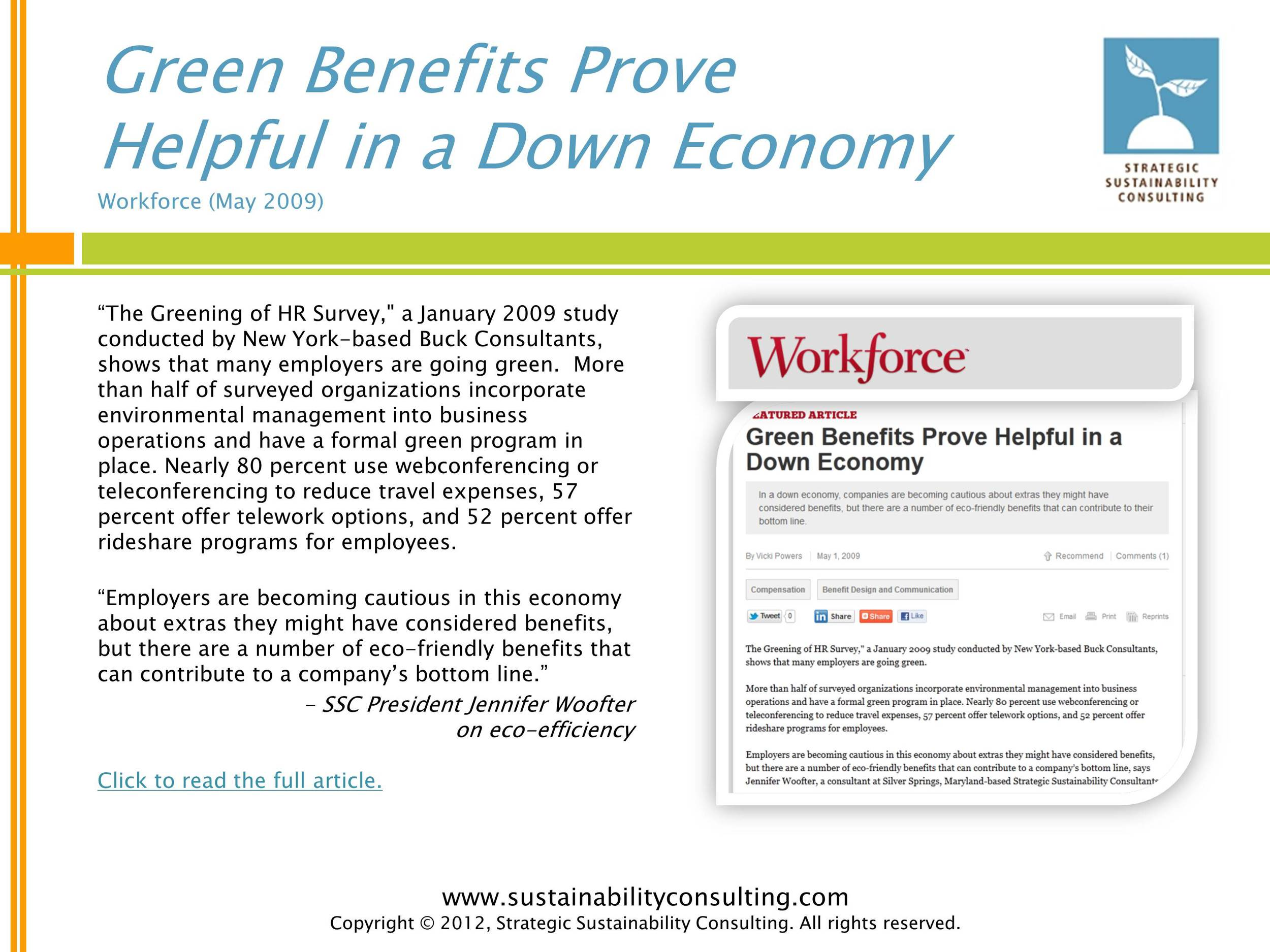 Green Benefits Prove Helpful in a Down Economy