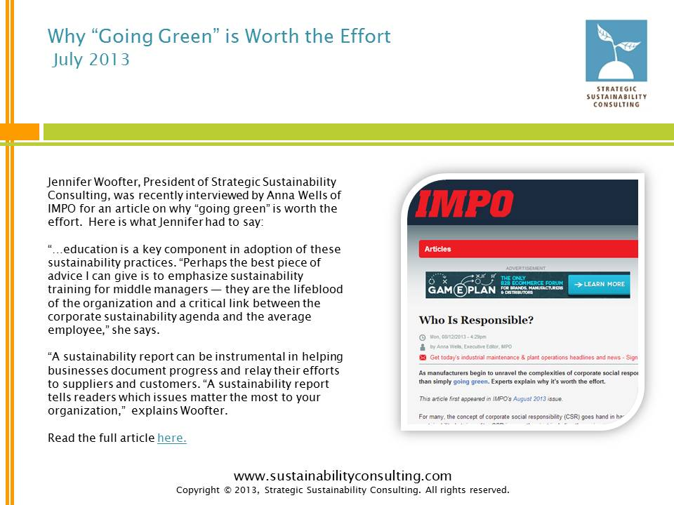"Why ""Going Green"" is Worth the Effort"