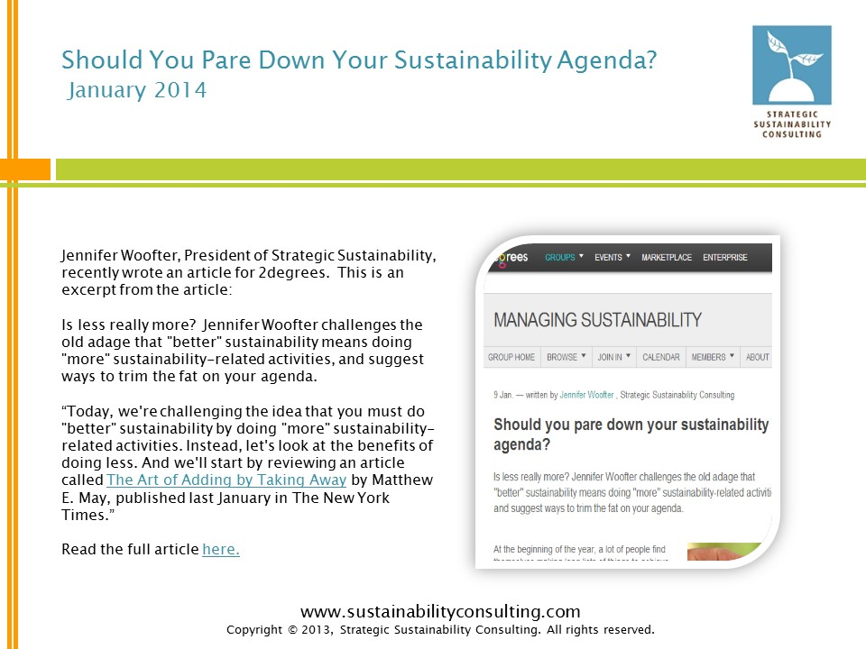 Should You Pare Down Your Sustainability Agenda?