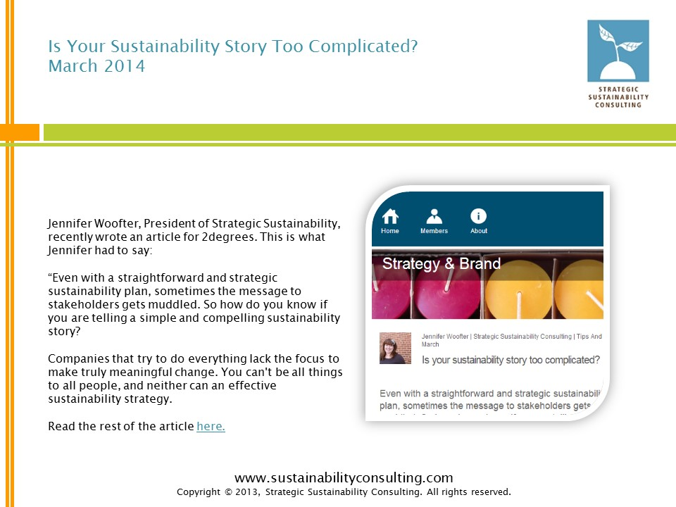 Is Your Sustainability Story Too Complicated?