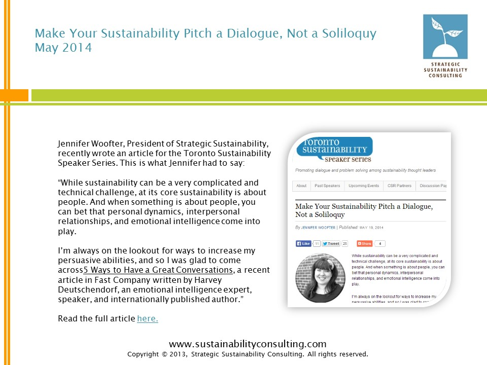 Make Your Sustainability Pitch a Dialogue, Not a Soliloquy