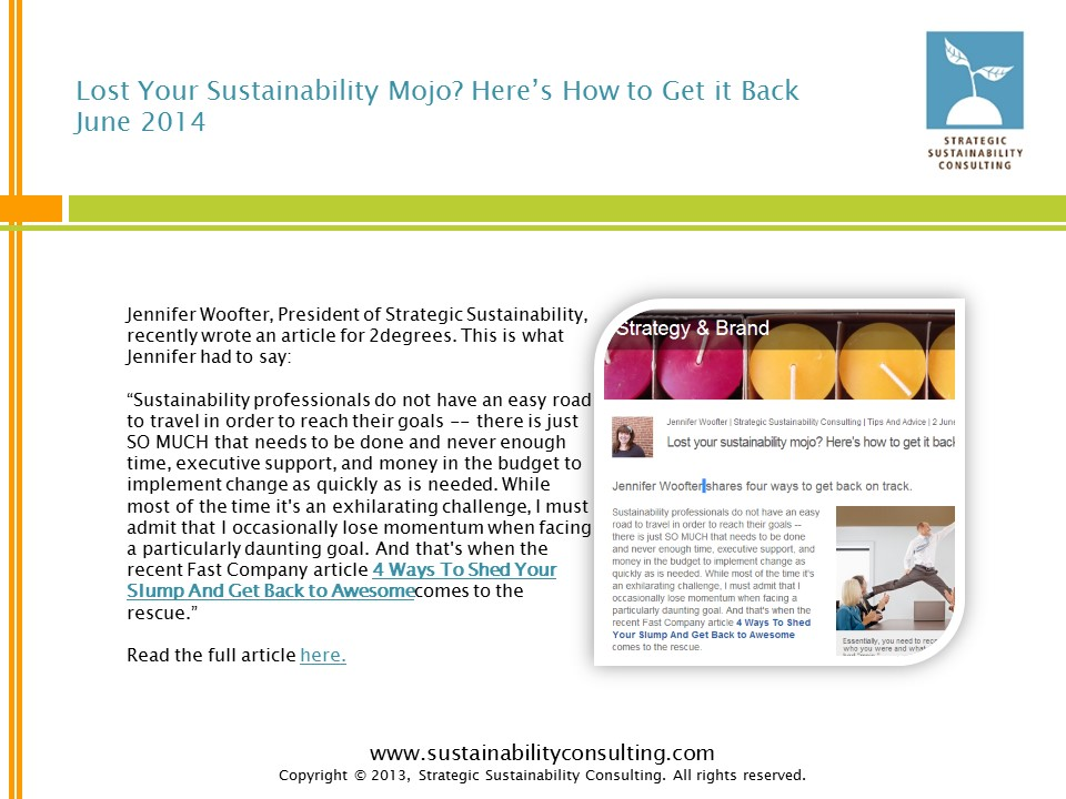 Lost Your Sustainability Mojo? Here's How to Get it Back