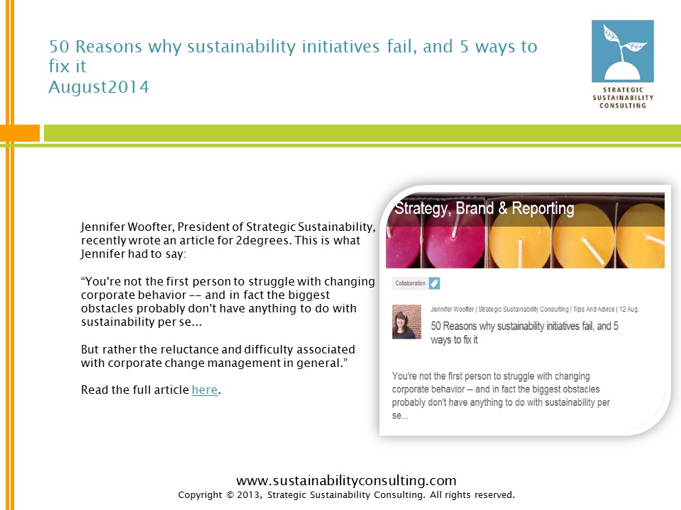 50 Reasons why sustainability initiatives fail, and 5 ways to fix it