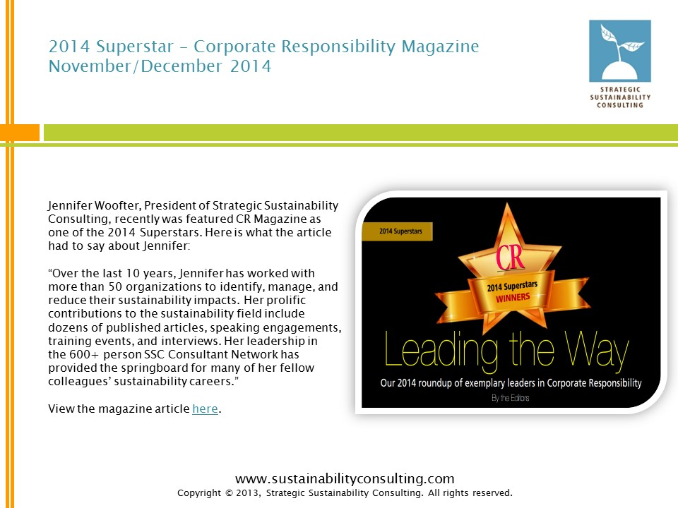 2014 Superstar – Corporate Responsibility Magazine