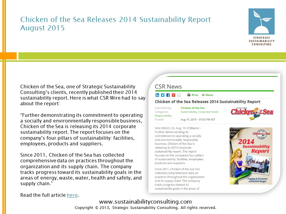 Chicken of the Sea Releases 2014 Sustainability Report