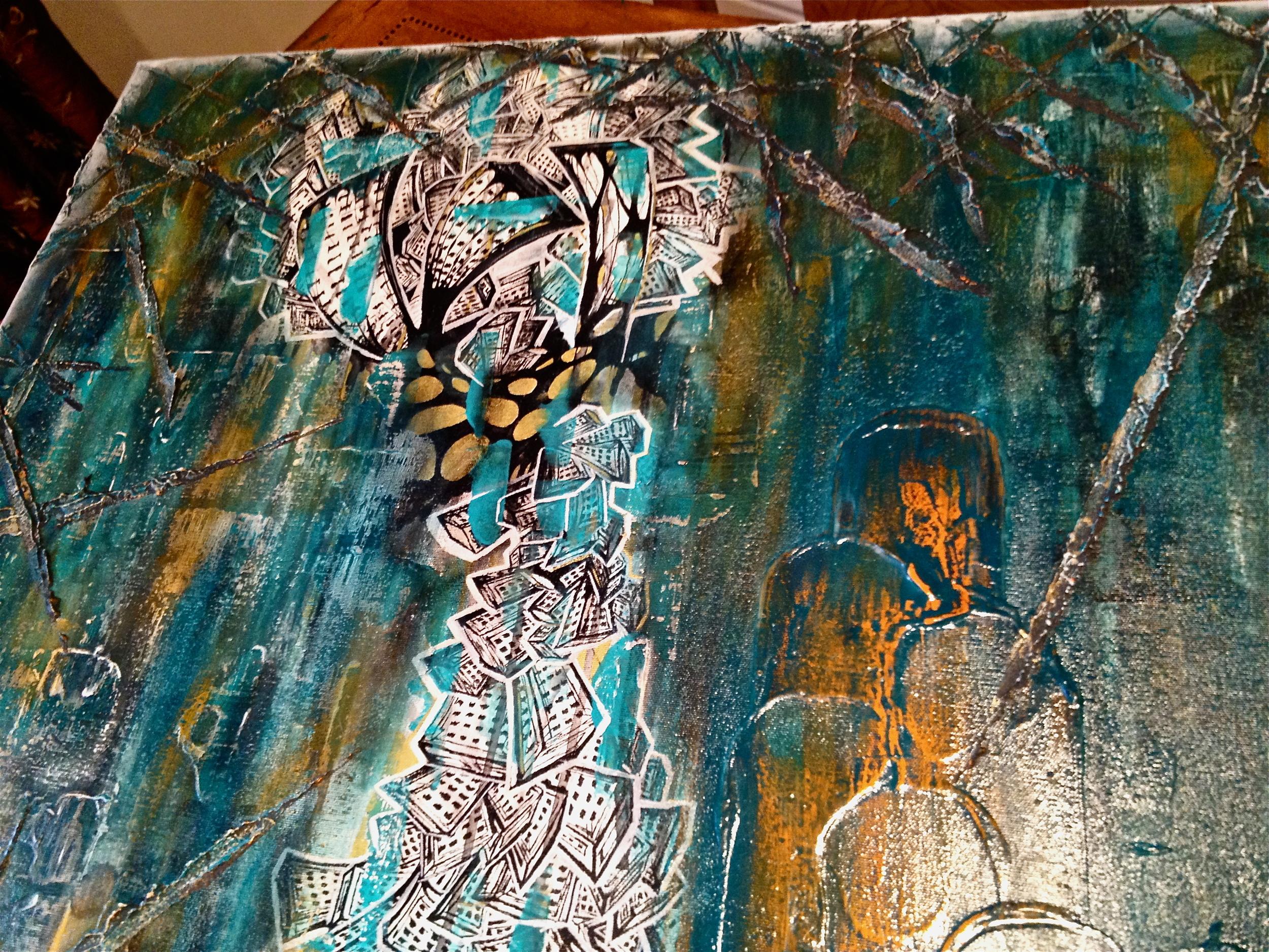 """""""Secrecy""""  24x48, acrylic/paint pen on canvas"""