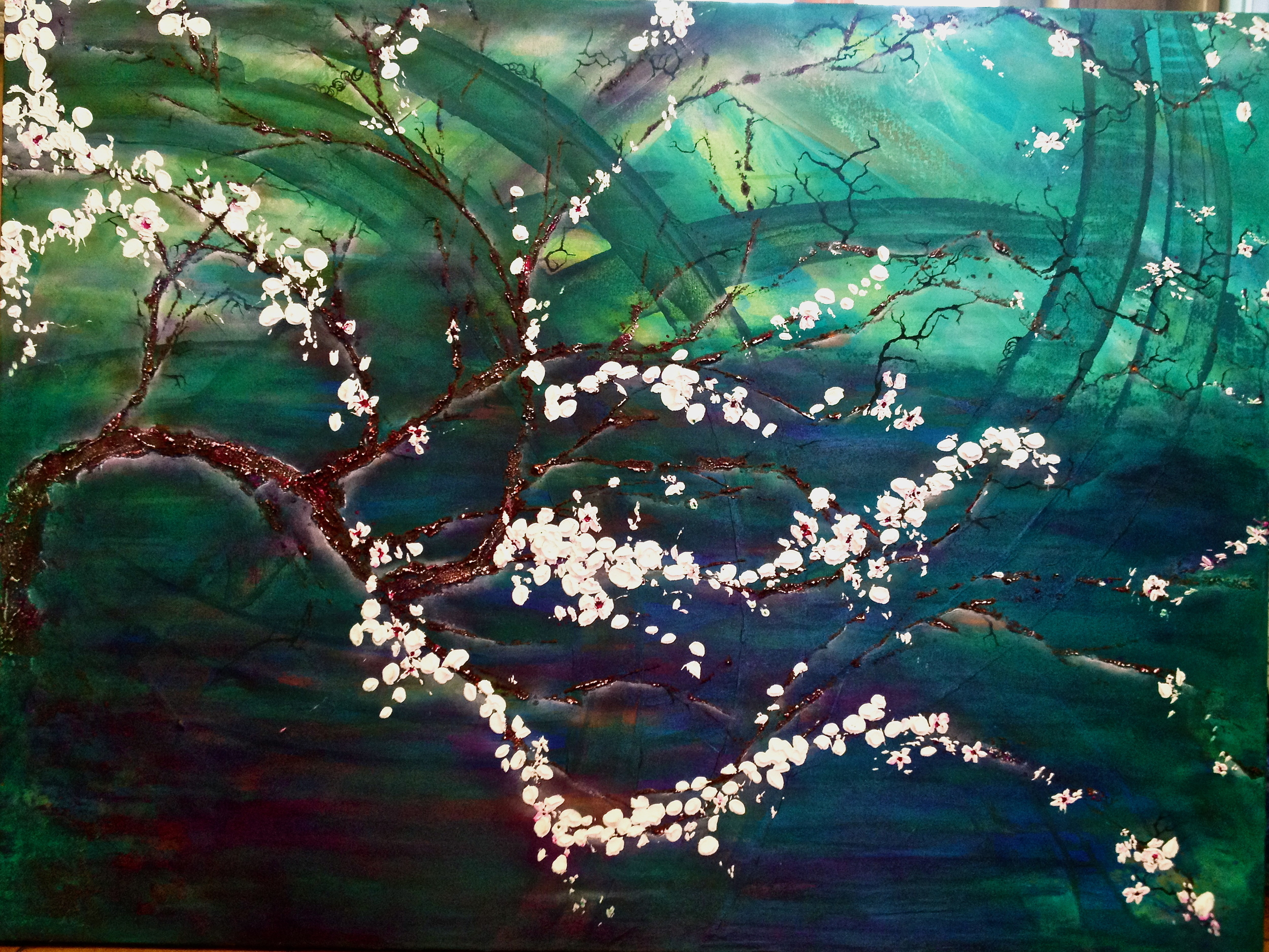 """Weeping"" finished 48 x 36    Heavy texture on tree/cherry blossoms"