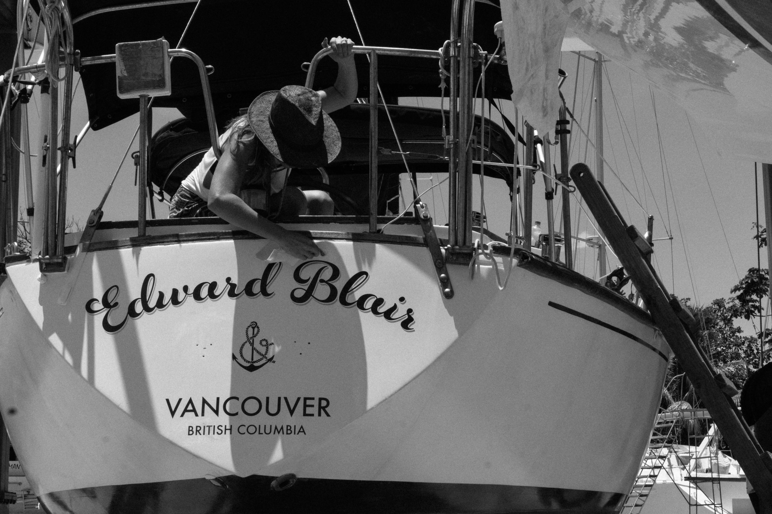 """Transom typefaces: Rosarian, """"Edward Blair"""" and Futura, """"Vancouver, British Columbia""""  Hand drawn """"&""""anchor logo by our friend Tyler Quarles"""