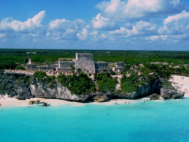 Tulum Ruins from the sky. Not our photo.