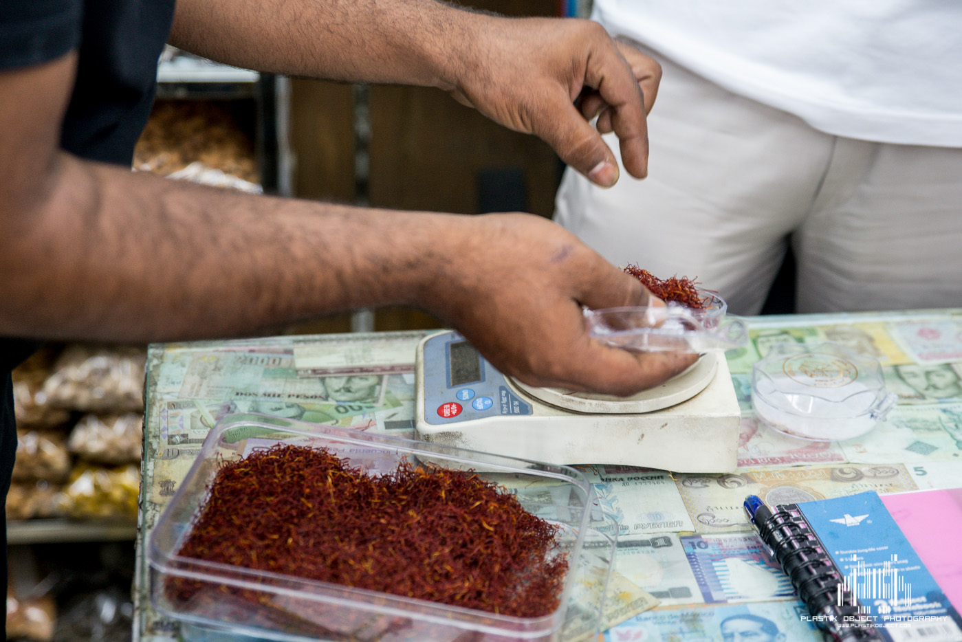"""Buying some saffron from our """"dealer""""."""
