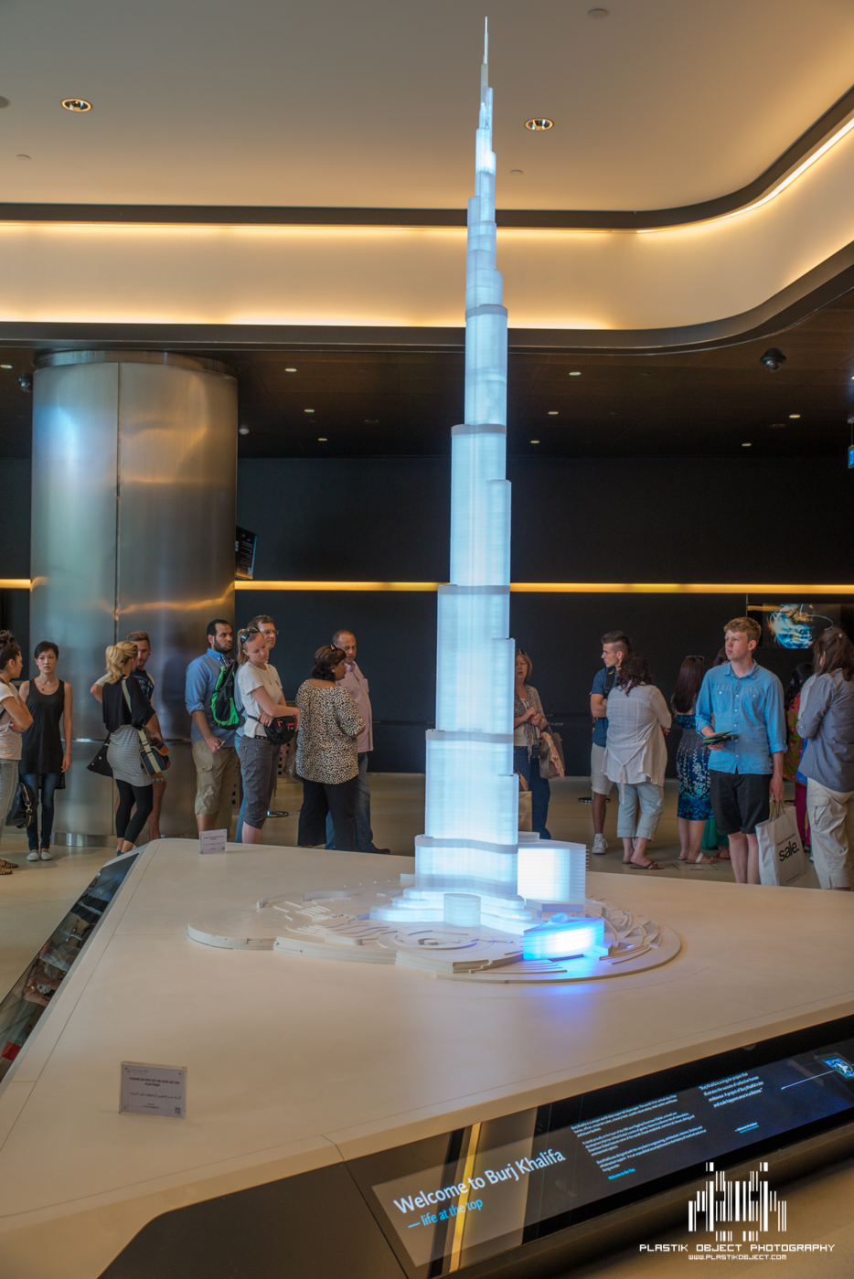 The waiting area before walking to the elevators. The entrance to the tour is actually in the Dubai Mall.