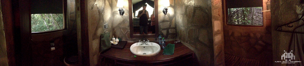 iPhone pano of our awesome bathroom area