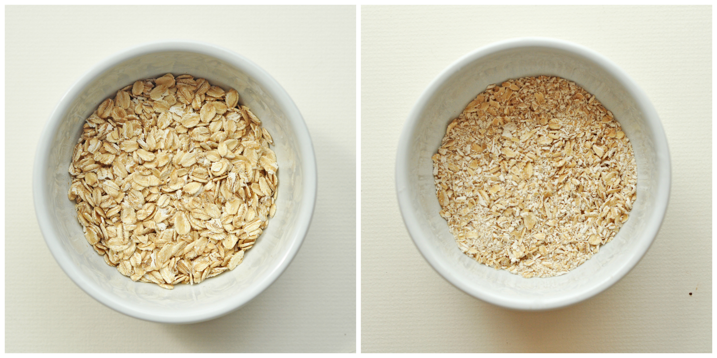 gluten free oats- the whole oats and the same oats processed into finer pieces.