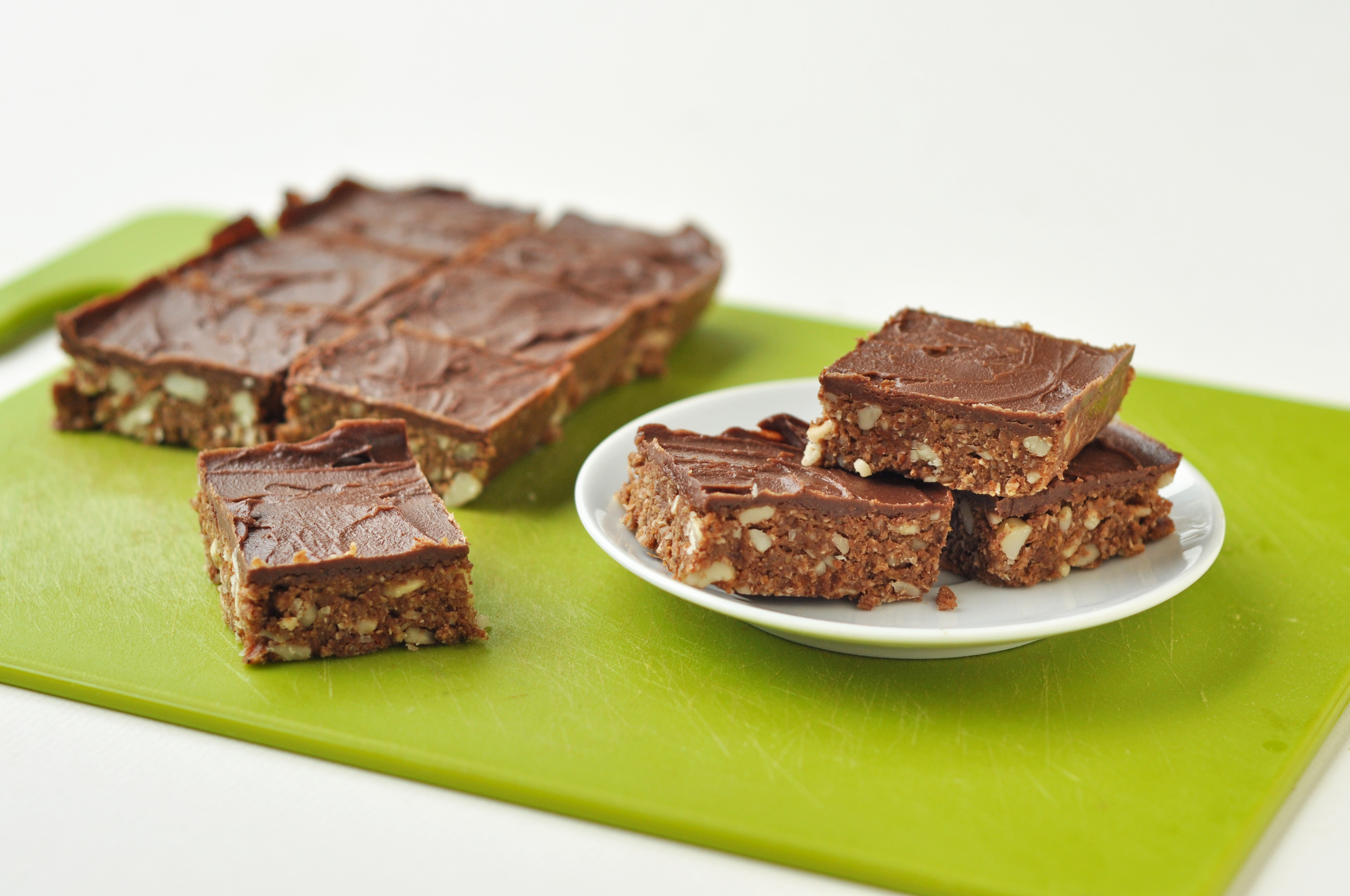 Simple and indulgent! You could also omit the chocolate layer and cocoa to make   a more regular raw style flapjack