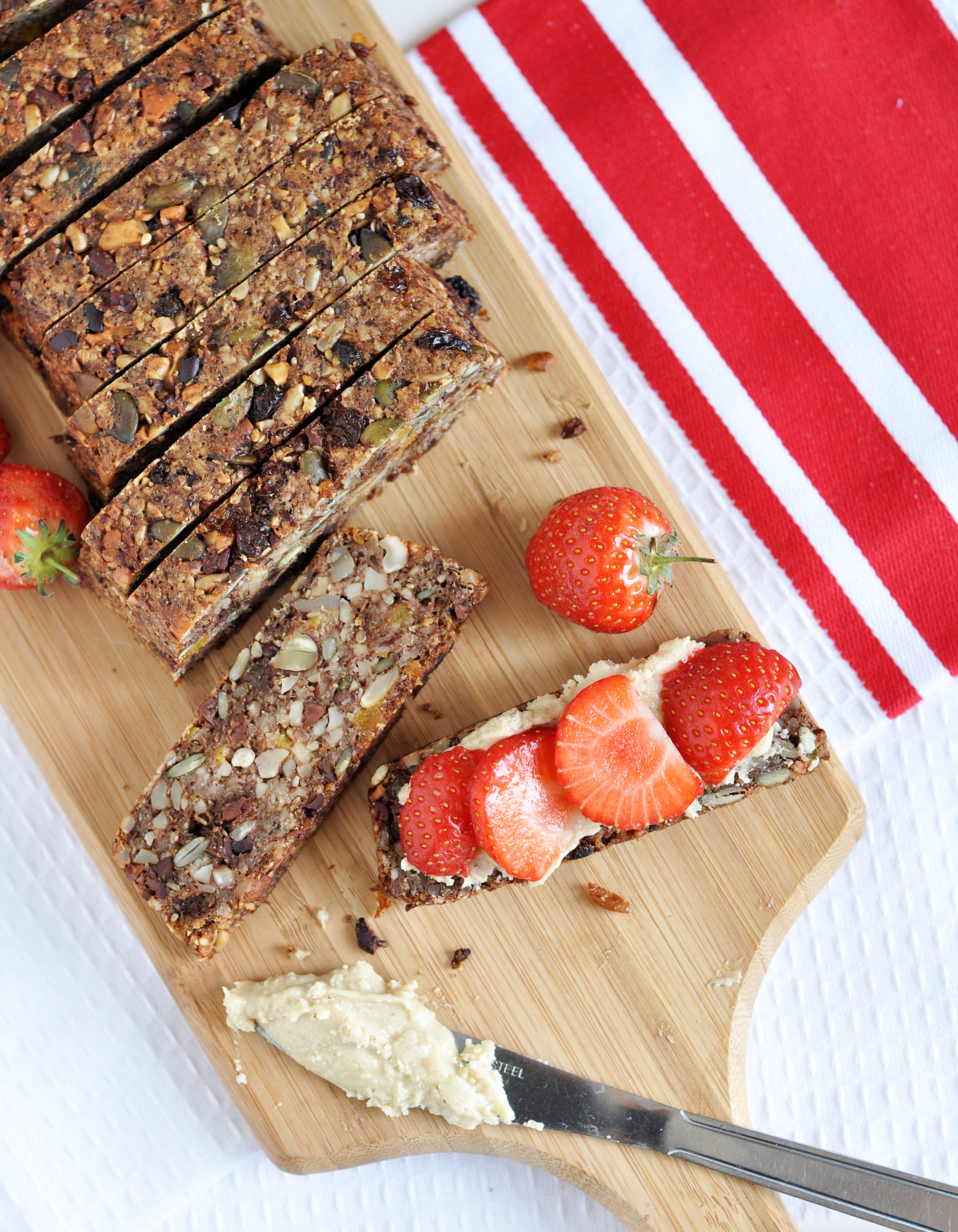 """""""This muesli bread hits the spot... it's a cross between cake and bread. It has all the   texture of fruit cake yet it is only slightly sweetened so perfect lightly toasted under   the grill and served with a little jam or nut paste or some smashed up berries."""""""