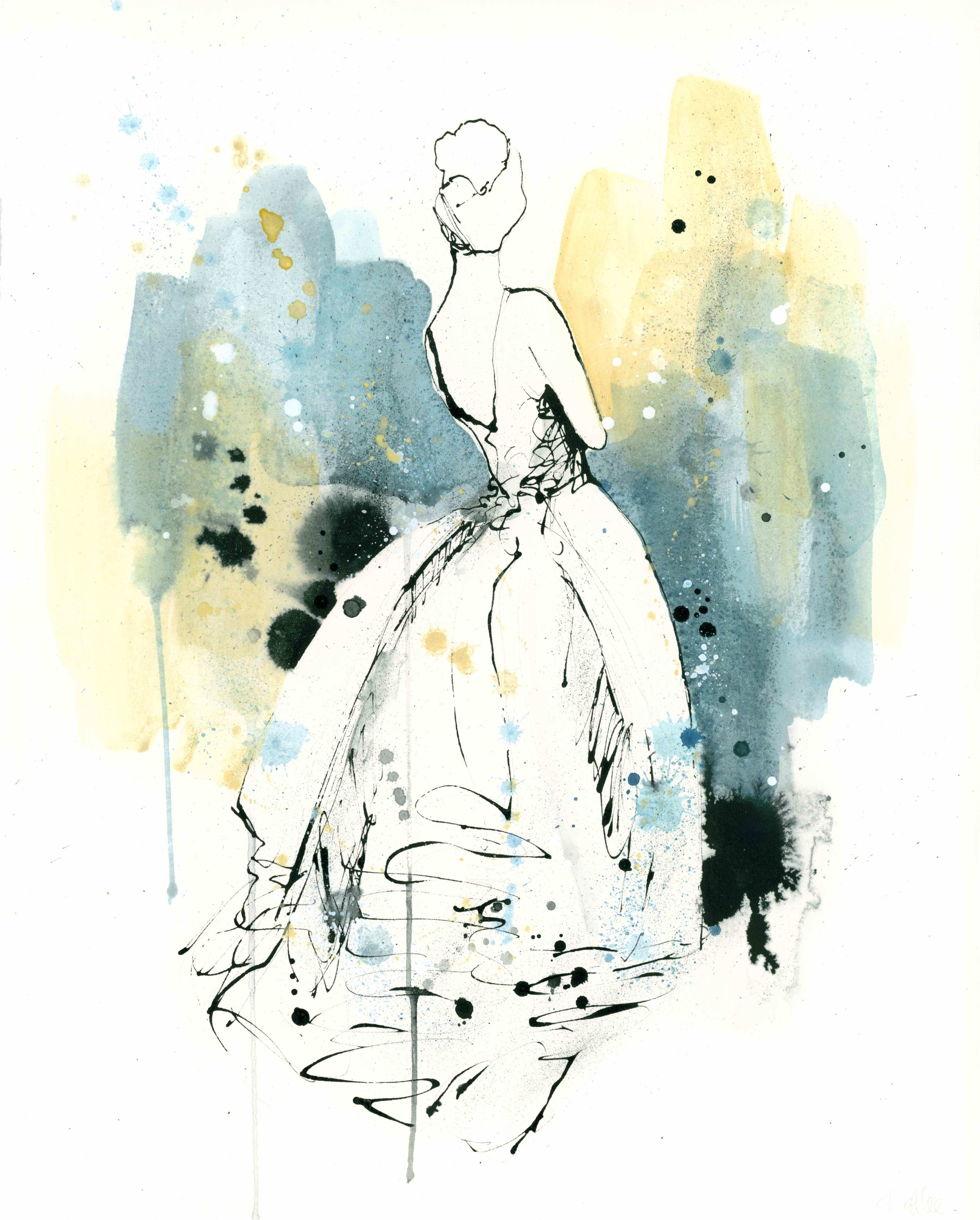 """""""Lady 2""""  ink, watercolor & pen on paper  20 x 16  2017  SOLD (commission)"""